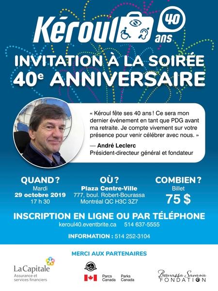Invitation au 40e anniversaire de Kéroul, information