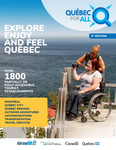Québec for All magazine cover with person in wheelchair looking at the sea