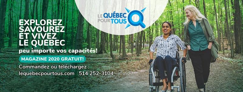 Bannière Le Québec pour tous avec personne handicapée et son accompagnatrice
