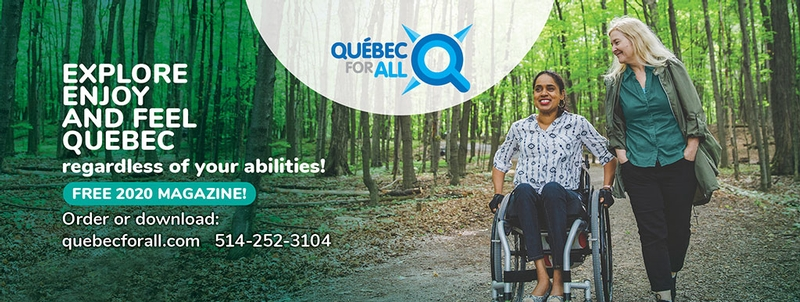 Quebec for all banner, wheelchair user and friend in a forest