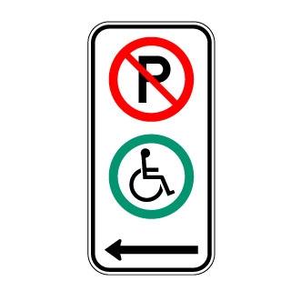 Panneau de signalisation comportant le symbole du fauteuil roulant en vert et celui de l'interdiction de stationner en rouge.
