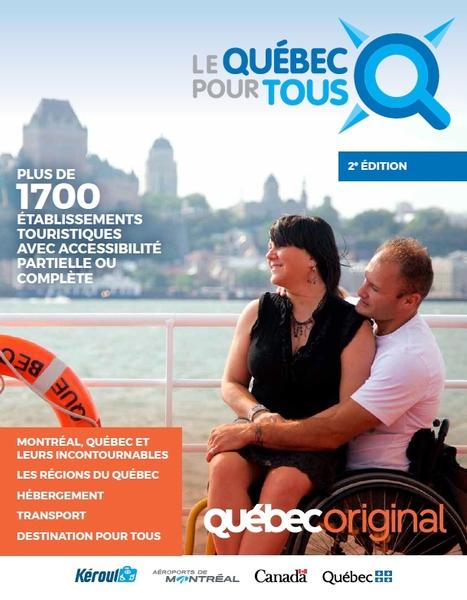 Page couverture du magazine Le Québec pour tous 2018. Un coupe sur un navire de croisière. Il est en fauteuil manuel, elle est assise sur ses jambes.