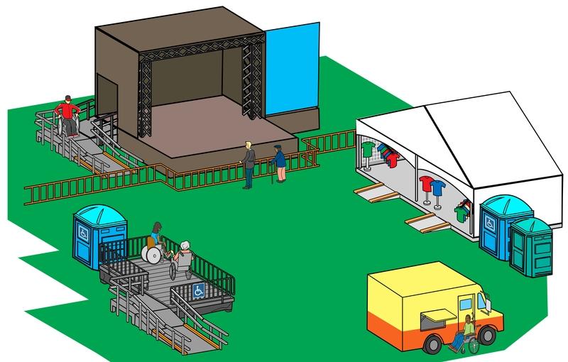 Site de festival avec plusieurs installations accessibles
