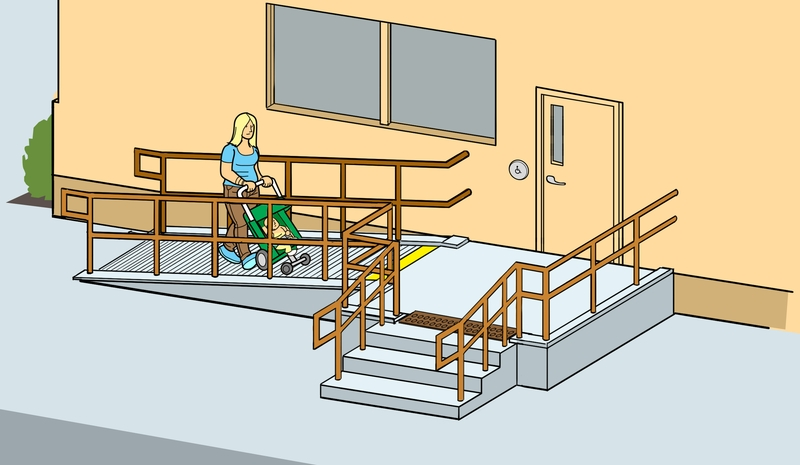 Rampe d'accès et escaliers, avec personne derrière une poussette