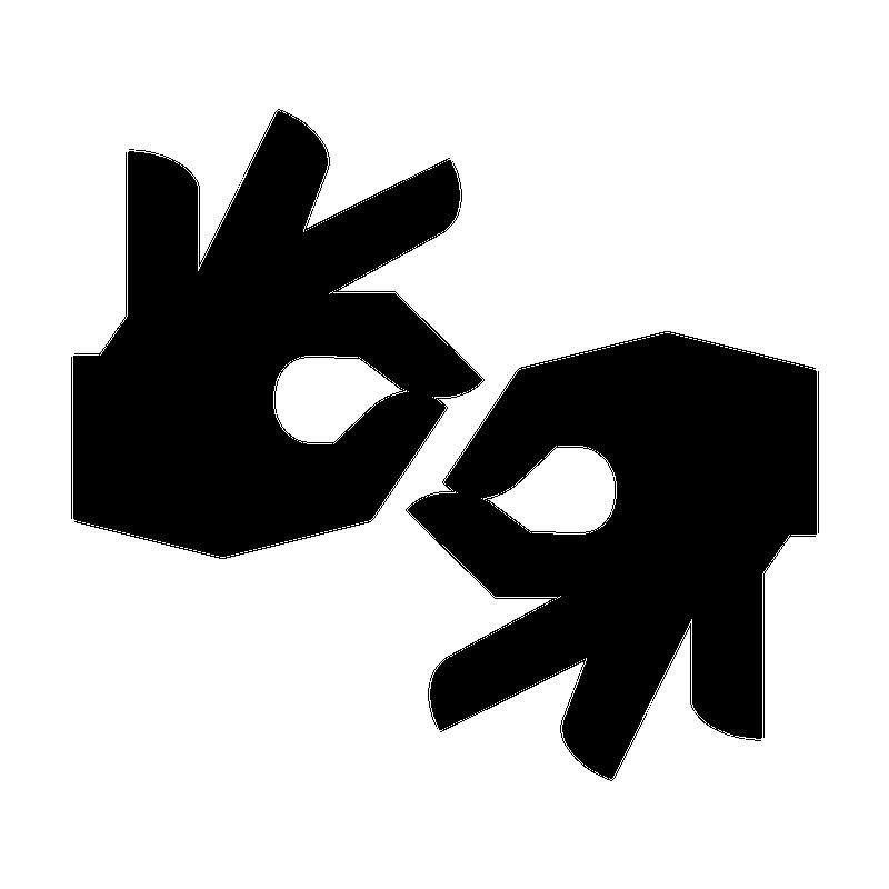 Symbole de l'interprétation visuelle. Deux mains en mouvement.